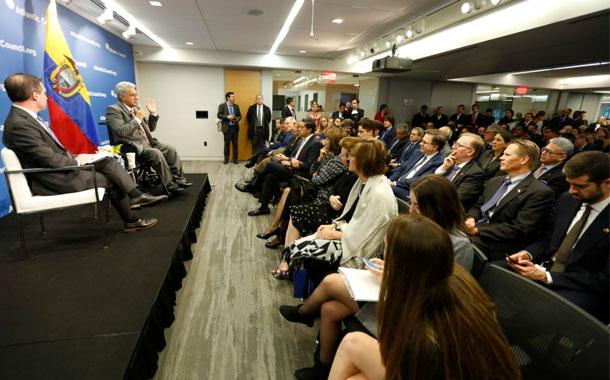 El presidente Moreno brindó una conferencia en el Atlantic Council