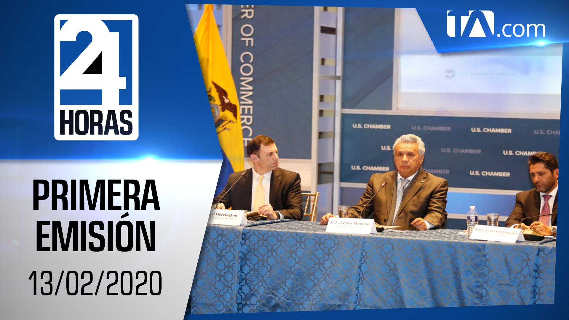 Noticias Ecuador : Noticiero 24 Horas 13/02/2020 (Primera Emisión)