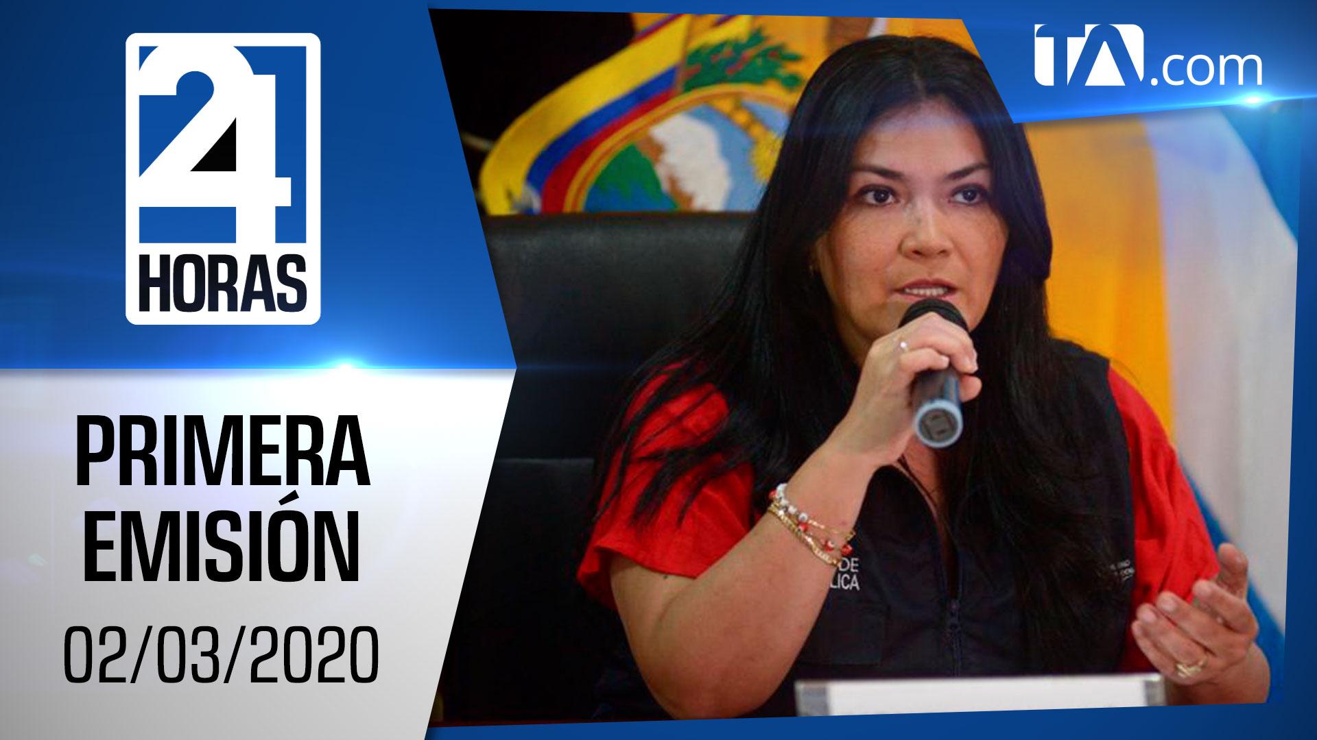 Noticias Ecuador: Noticiero 24 Horas 02/03/2020 (Primera Emisión)
