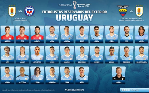 Uruguay presentó la lista de convocados para enfrentar a Ecuador