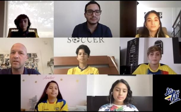 Jordi Cruyff conversó con los más pequeños hinchas de Ecuador
