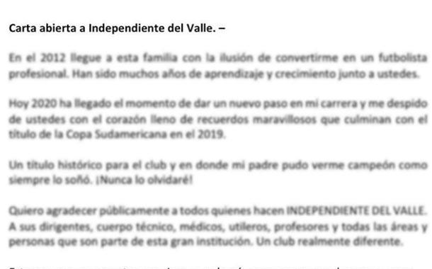 Alan Franco se despide de Independiente del Valle con emotiva carta