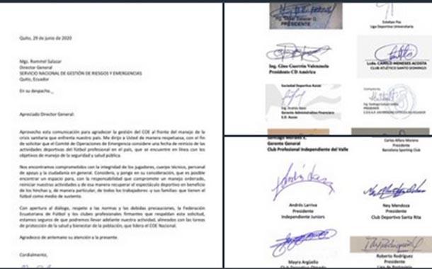 FEF y 16 clubes piden al COE autorizar reinicio del fútbol