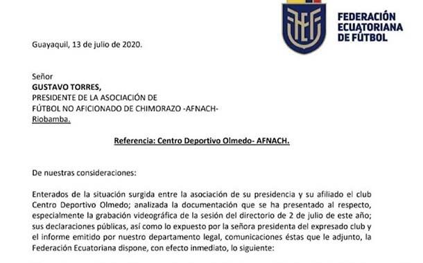 FEF reconoce a Mayra Argüello como presidenta de Olmedo