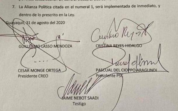 Se confirma alianza política entre PSC y CREO