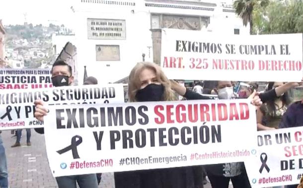 Comerciantes del centro de Quito realizaron plantón contra inseguridad