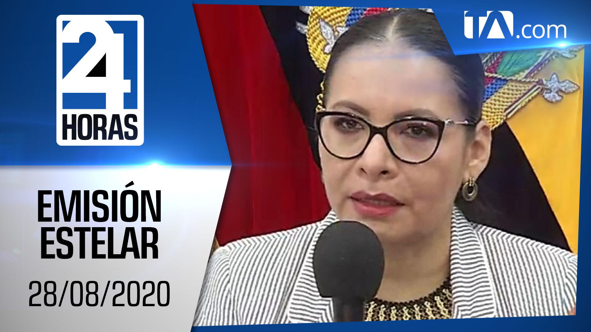 Noticias Ecuador: Noticiero 24 Horas, 28/08/2020 (Emisión Estelar)