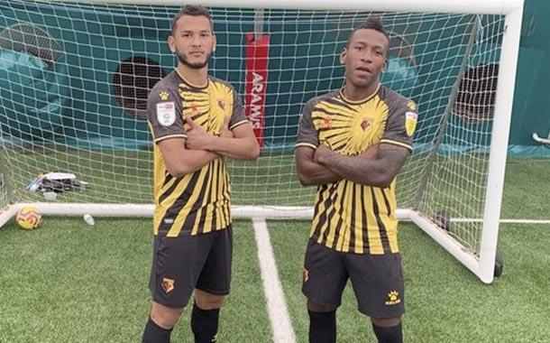 Pervis Estupiñán en la presentación de uniformes de Watford