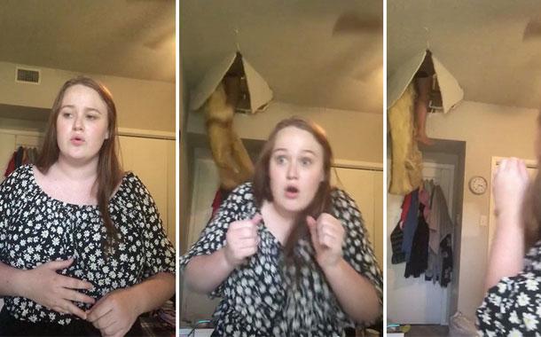 Mujer cae desde el ático de su casa e interrumpe el TikTok de su hija